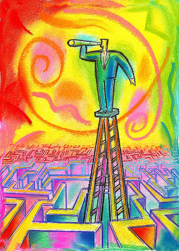 Advantage Confused Confusion Endless Focal Point Future Investigate Investigating Ladder Maze Objective Objectives Opportunities Opportunity Outlook Oversee Perspective Projections Prospect Prospects Search Search Engine Searching Telescope Telescopes Vantage Point Poster featuring the painting Opportunity by Leon Zernitsky
