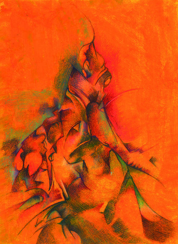 Abstract Poster featuring the painting Orange And Green by Bodhi