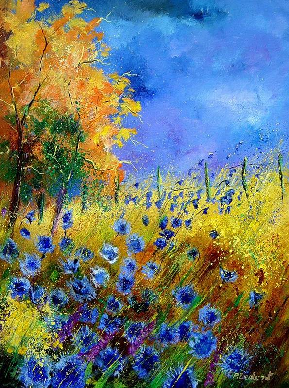 Poppies Poster featuring the painting Orange tree and blue cornflowers by Pol Ledent