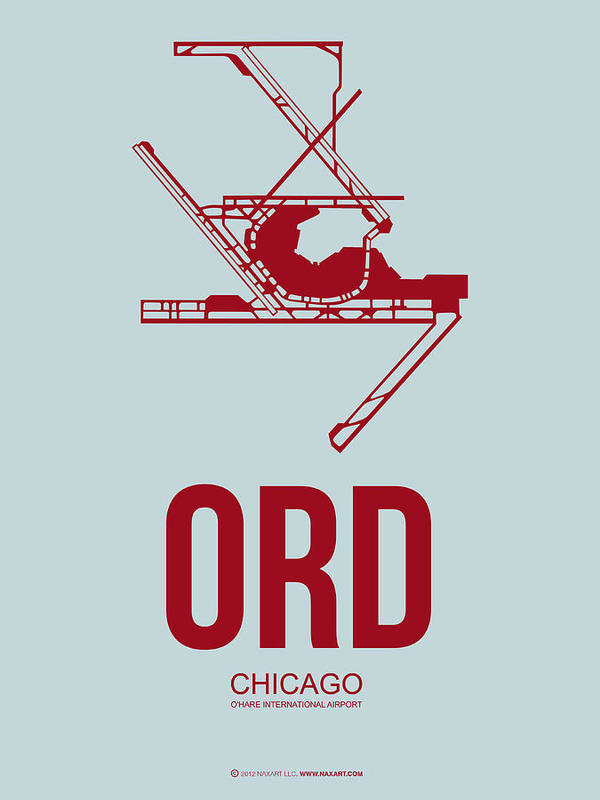Chicago Poster featuring the digital art Ord Chicago Airport Poster 3 by Naxart Studio