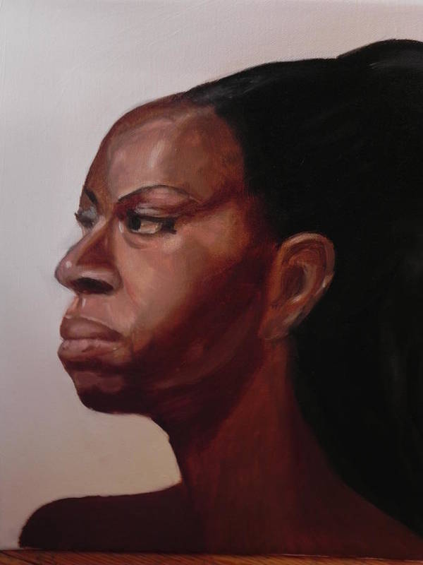 African-american Poster featuring the painting Original Portrait In Oil by Kira Rubtsova