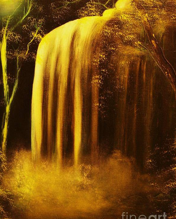 Waterfall Poster featuring the painting Moon Shadow Waterfalls- Original Sold - Buy Giclee Print Nr 30 Of Limited Edition Of 40 Prints  by Eddie Michael Beck