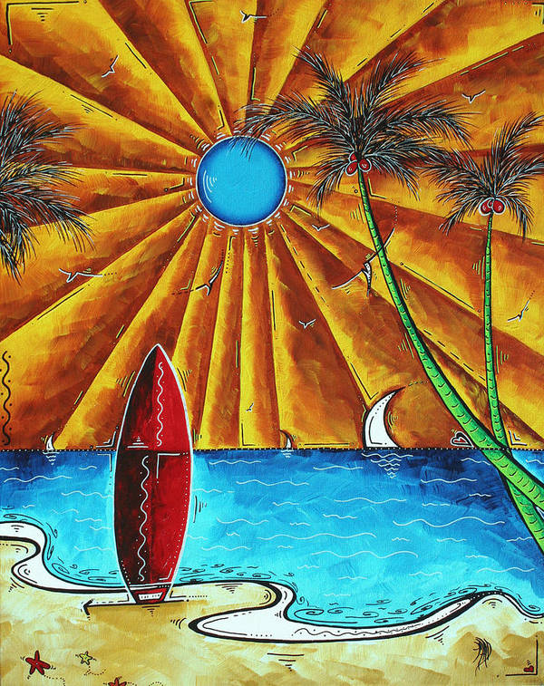 Abstract Poster featuring the painting Original Tropical Surfing Whimsical Fun Painting Waiting For The Surf By Madart by Megan Duncanson