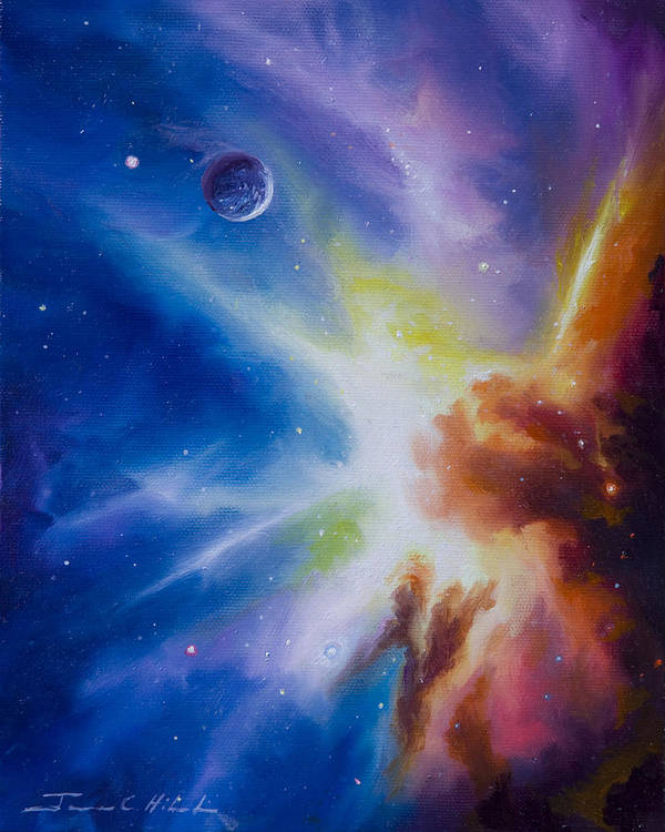 James Christopher Hill; Cosmos; Cosmic; Stars; Stellar; Gas; Clouds; Nebula; Nebulae; Planets; Quasars; Pulsars; Black Holes; Universe; Dark Matter; Anti Matter; Dark Energy; Hydrogen; Star Nursery; Galaxy; Einstien; Hawking; Jupitor; Sun; Gas Giant; Red Drawf; Red Giant; Blue Star; Saturn; Earth; Moon; Uranus; Neptune; Io; Mars; Europa; Pluto; Solar System; Star System; Space Scenes; Starship; Cruiser; Spaceship Poster featuring the painting Orion Nebula by James Christopher Hill