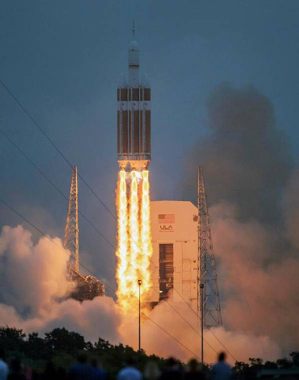 Orion Poster featuring the photograph Orion Spacecraft Test Flight Launch by Nasa, Bill Ingalls/science Photo Library