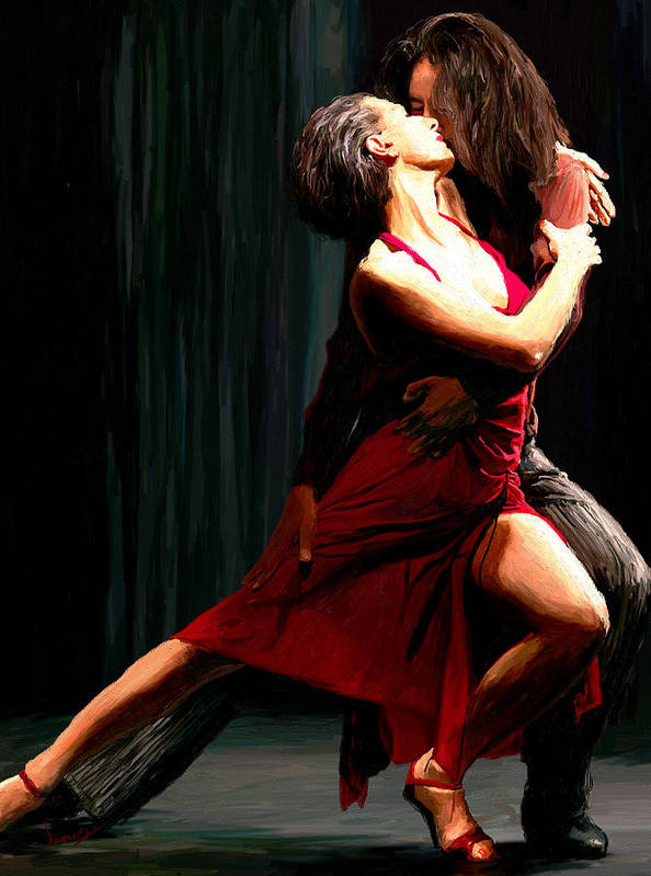 Impressionism Poster featuring the painting Our Tango by James Shepherd