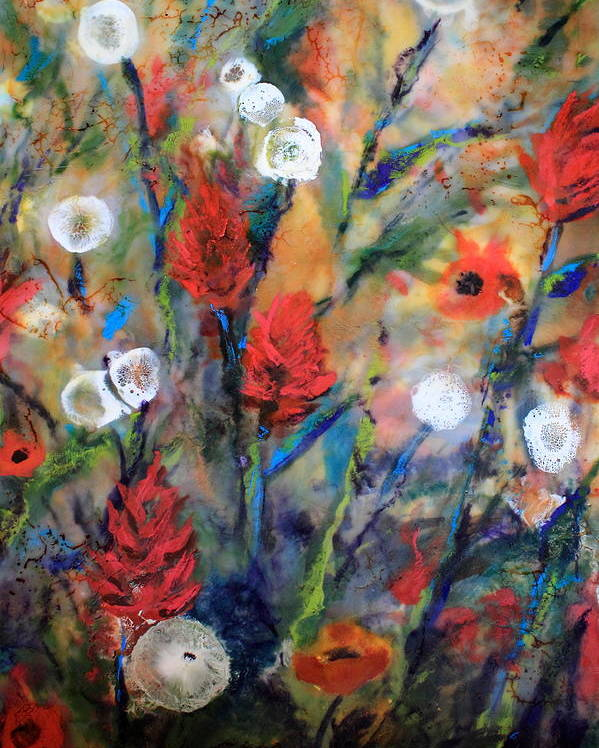 Indian Paintbrushes Poster featuring the painting Our Wish Is Simple by Mary C Farrenkopf
