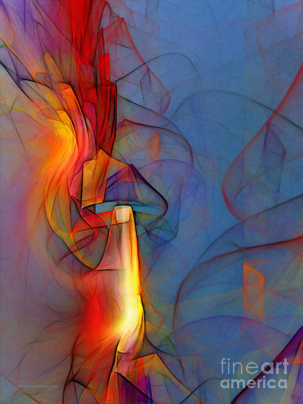 Abstract Poster featuring the digital art Out Of The Blue-abstract Art by Karin Kuhlmann