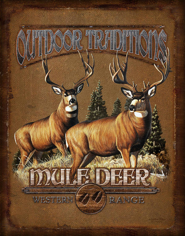 Cynthie Fisher Poster featuring the painting Outdoor Traditions Mule Deer by JQ Licensing