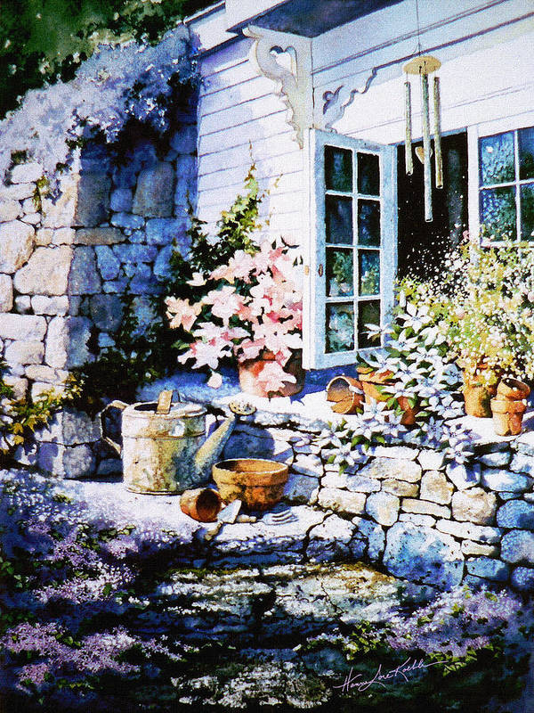 Over Sleepy Garden Walls Poster featuring the painting Over Sleepy Garden Walls by Hanne Lore Koehler