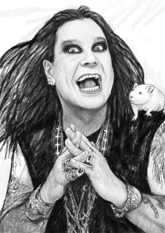 Ozzy Osbourne Art Drawing Sketch Portrait Poster featuring the painting Ozzy Osbourne Art Drawing Sketch Portrait by Kim Wang