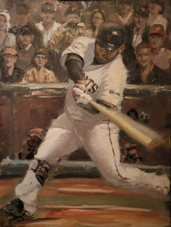 Poster featuring the painting Pablo Sandoval Home Run by Darren Kerr