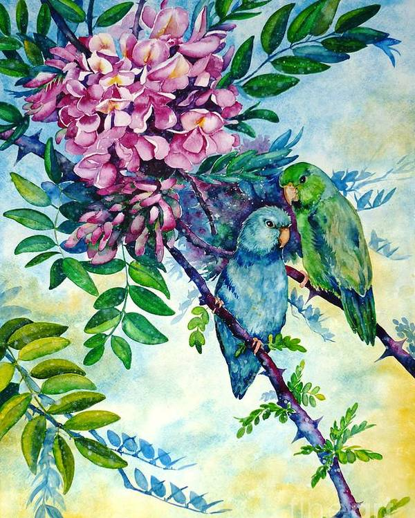 Pacific Parrotlets Poster featuring the painting Pacific Parrotlets by Zaira Dzhaubaeva