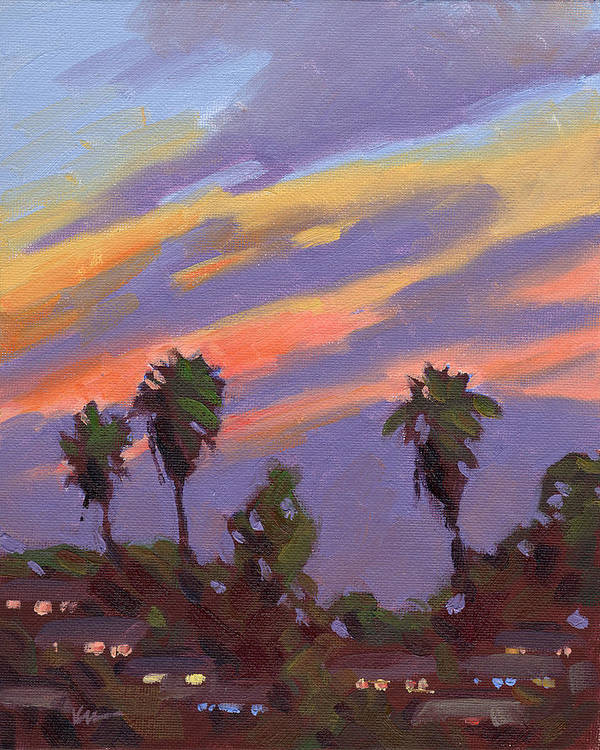 Sunset Poster featuring the painting Pacific Sunset 1 by Konnie Kim