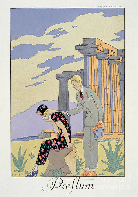 Crying Poster featuring the painting Paestum by Georges Barbier