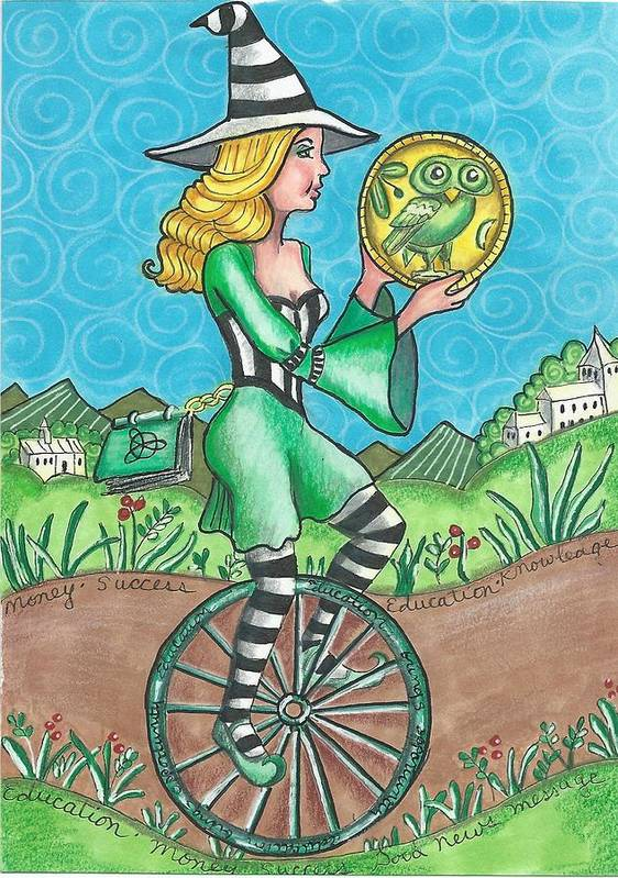 Tarot Poster featuring the drawing Page Of Coins - Good News by Joy Saethre