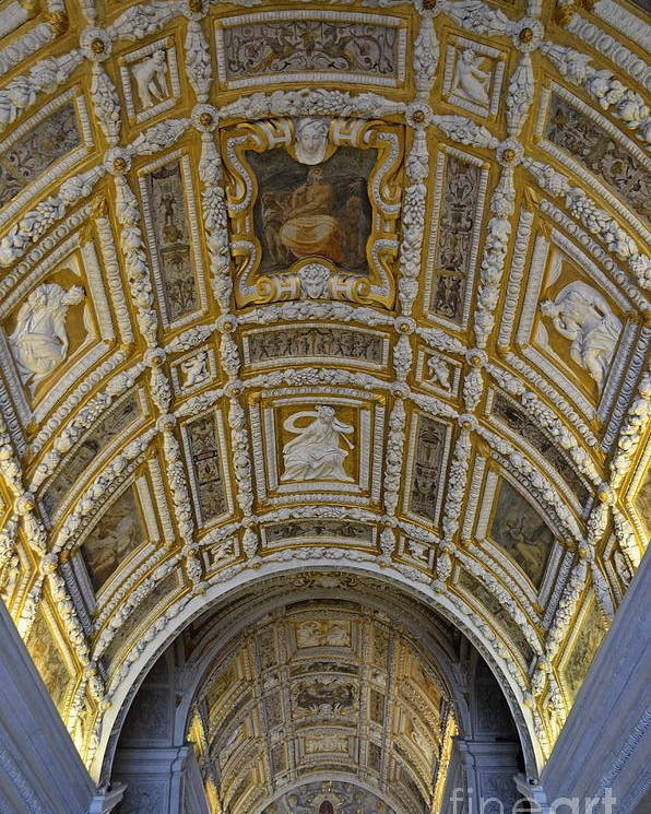Architectural Poster featuring the photograph Painted Ceiling Of Staircase In Doges Palace by Sami Sarkis