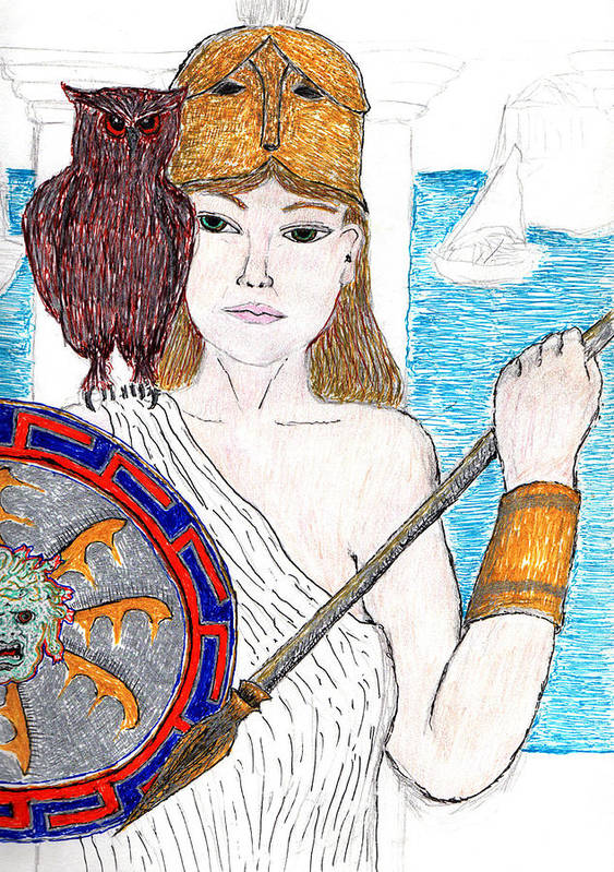 Poster featuring the drawing Pallas Athena by Jon-Ross Habina