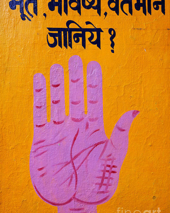 Palm Reading Poster featuring the photograph Palm Reading Sign In Rishikesh by Robert Preston