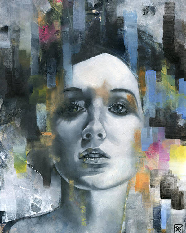 Face Poster featuring the painting Pandora by Patricia Ariel