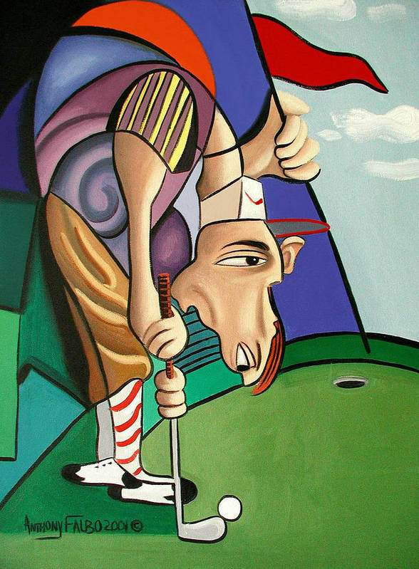 Par For The Course Poster featuring the painting Par For The Course by Anthony Falbo