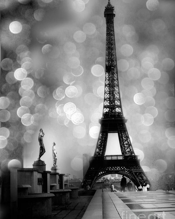 Paris poster featuring the photograph paris eiffel tower surreal black and white photography eiffel tower
