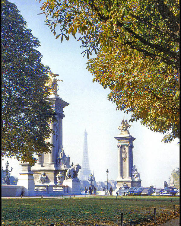 Paris Poster featuring the photograph Paris In The Fall 1954 by Chuck Staley