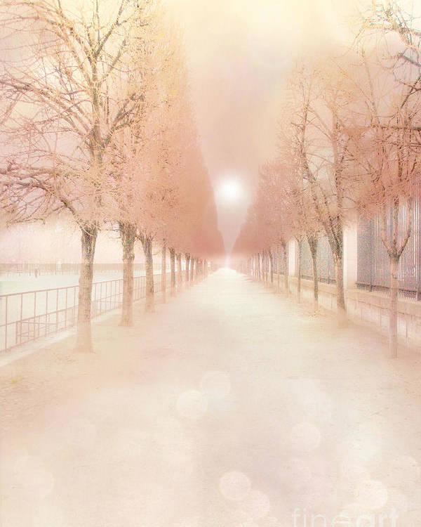 Paris Dreamy Tuileries Poster featuring the photograph Paris Tuileries Row Of Trees - Paris Jardin Des Tuileries Dreamy Park Landscape by Kathy Fornal