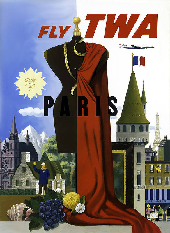 Vintage Travel Poster Poster featuring the photograph Paris Twa by Mark Rogan