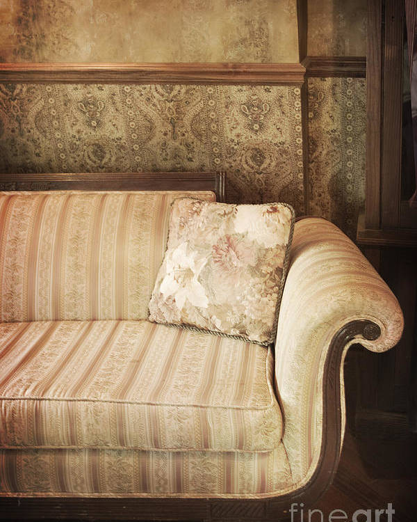 Sofa; Couch; Ornate; Curve; Pillow; Wallpaper; Interior; Still Life; Living Room; Sitting Room; Formal; Victorian; Seating; Indoors; Room; Classic; Furniture; Nobody; Empty; Antique Poster featuring the photograph Parlor Seat by Margie Hurwich