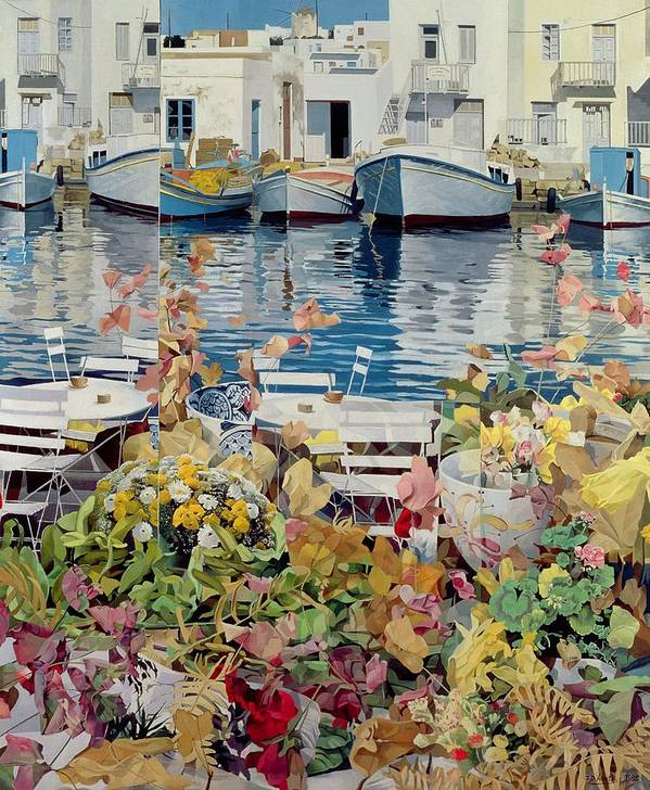 Harbour & Fishing Scenes Poster featuring the painting Paros by Jeremy Annett