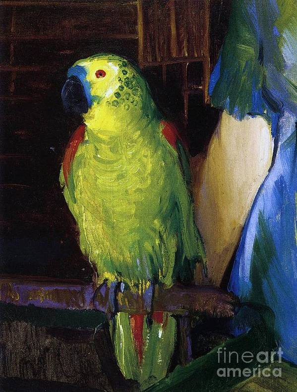 Bird; Pet; Green; Colourful; Tropical; Exotic; Interior; Domestic; Parrot; Birds; Parrots; Colorful; Animal; Oil Paint; Oil Painting; George; Wesley; George Wesley; Bellows; George Wesley Bellows; Animal; Animals; Animal Life; Pets; Pet Bird; Green; Red; Blue; Feather; Feather; Talon; Talons; Atop; Perch; Perched; Beak; Black Beak; Domesticated; Nature; Natural; Wildlife; Owner; Pet Owner; Woman; Arm; Blue Dress; Dress; Pet Owners; Indoor; Indoors; Creature; Living Thing; Alive; Wing; Wings Poster featuring the painting Parrot by George Wesley Bellows