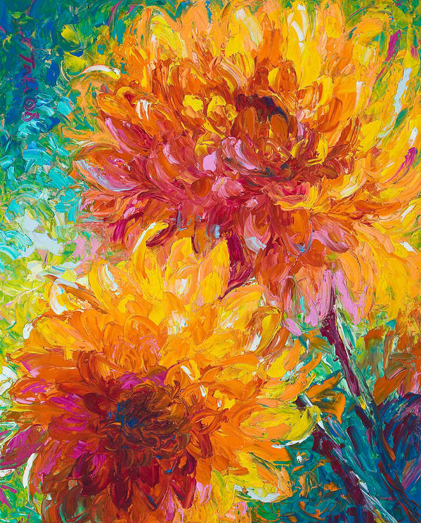 Dahlia Poster featuring the painting Passion by Talya Johnson