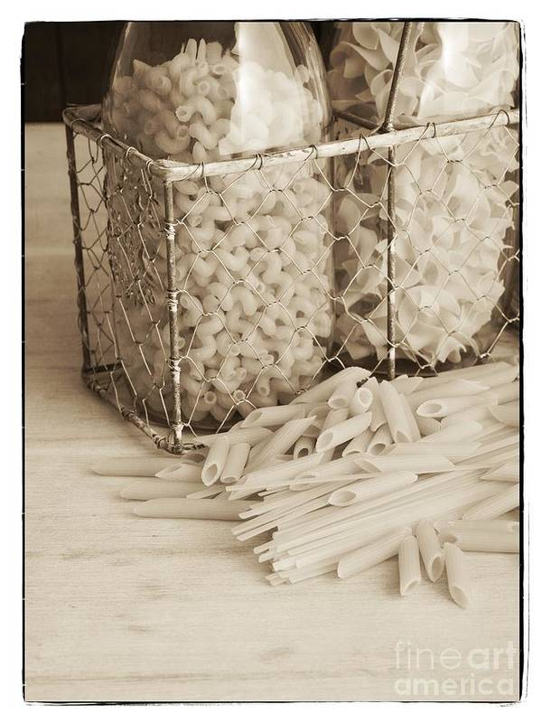 Basket Poster featuring the photograph Pasta Sepia Toned by Edward Fielding