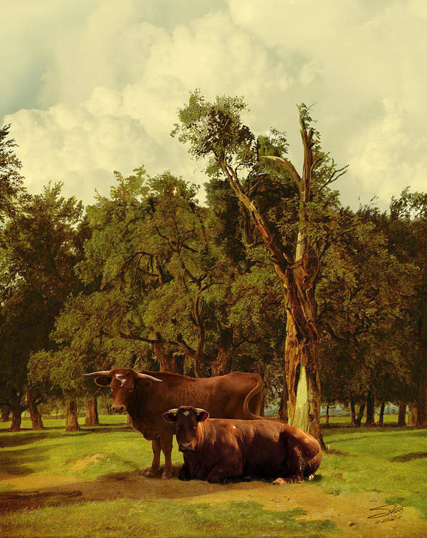 Cows Poster featuring the digital art Pastureland by IM Spadecaller