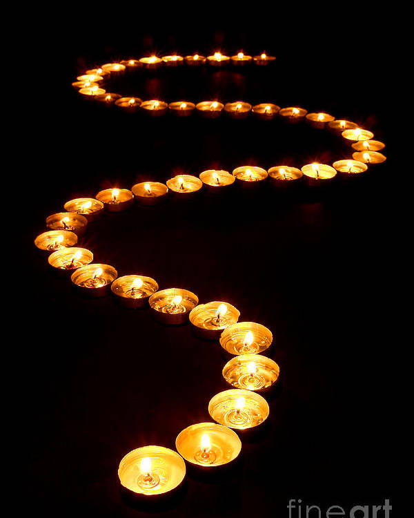 Candles Poster featuring the photograph Path Of Light by Olivier Le Queinec