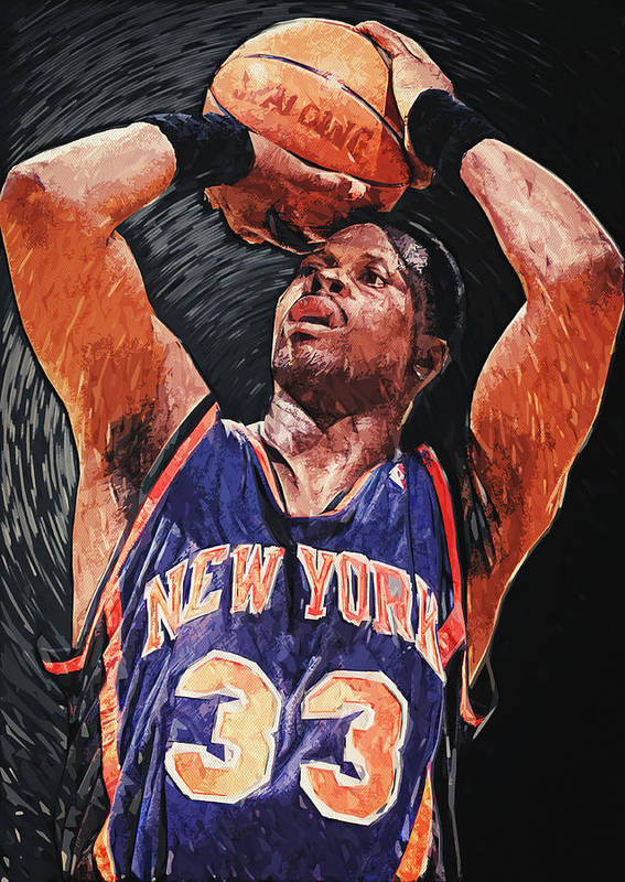 Patrick Ewing Poster featuring the digital art Patrick Ewing by Taylan Apukovska