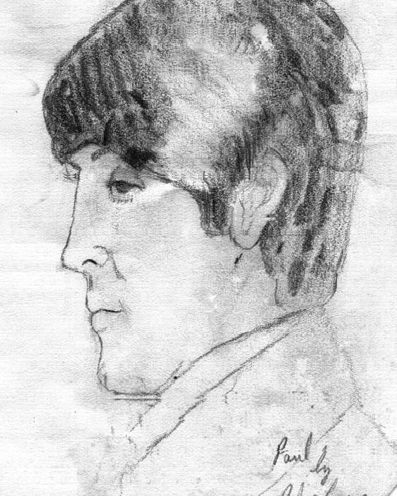 Paul Mccartney Poster featuring the drawing Paul Mccartney Profile by Rodger Larson