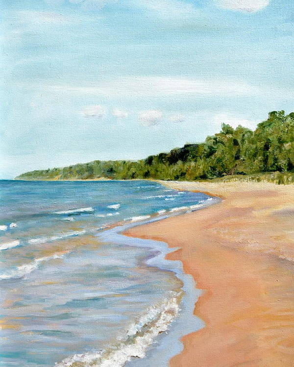 Beach Poster featuring the painting Peaceful Beach At Pier Cove by Michelle Calkins