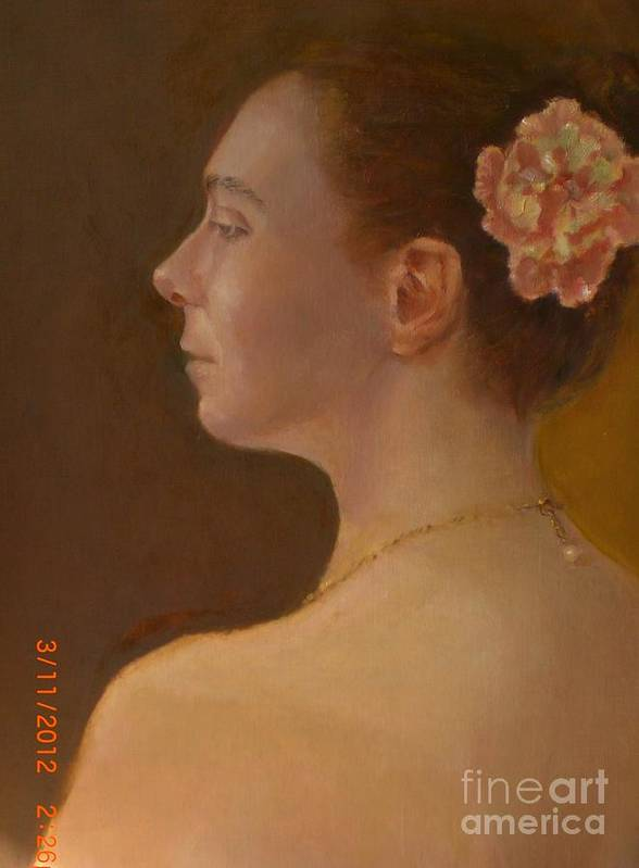 Contemporary Portrait Poster featuring the painting Pearl Necklace by Kathleen Hoekstra