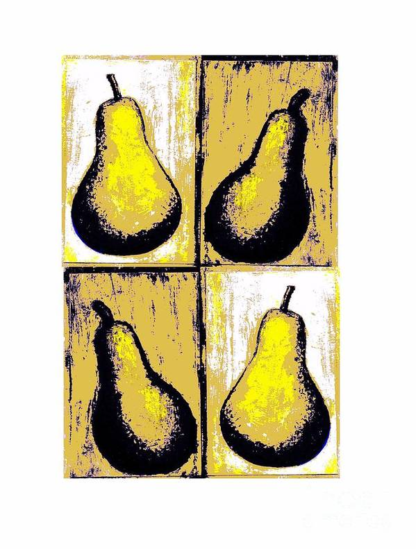 Pears Warhol Style Fruit Yellow Distressed Pointillism Pears Decorative Art Food Art Stylistic Shadows Stylized Painting Fruit Digitally Manipulated Painting Original Artwork Christine Fanous Fineartwithatwist Pears Quadratic Print Unique Food And Beverage Food Art Fruit Art Poster featuring the painting Pears- Warhol Style by C Fanous
