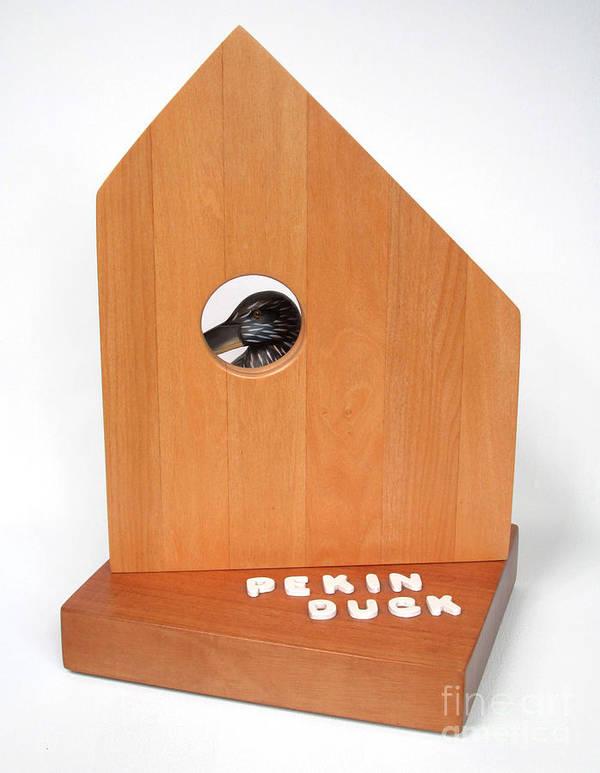 Duck Poster featuring the sculpture Pekin Duck #99 by Bill Czappa