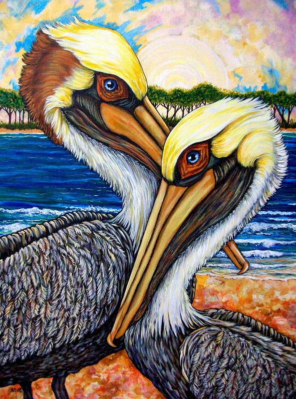 Pelican Poster featuring the painting Pelican Pair by Sherry Dole