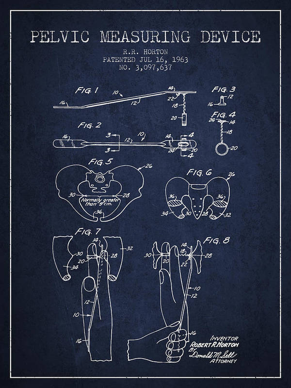Pelvic Poster featuring the drawing Pelvic Measuring Device Patent From 1963 - Navy Blue by Aged Pixel