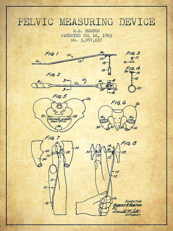 Pelvic Poster featuring the drawing Pelvic Measuring Device Patent From 1963 - Vintage by Aged Pixel
