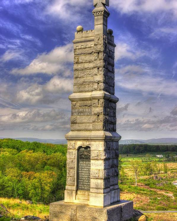 Civil War Poster featuring the photograph Pennsylvania At Gettysburg - 91st Pa Veteran Volunteer Infantry - Little Round Top Spring by Michael Mazaika