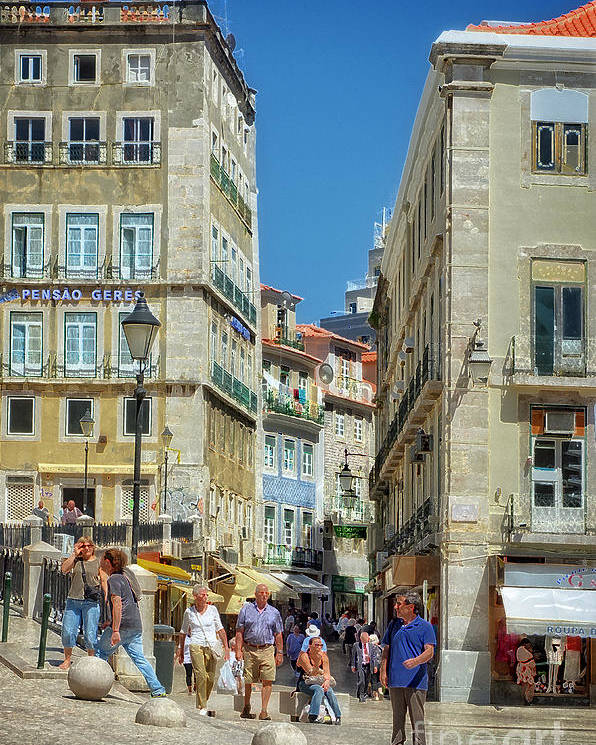Pensao Geres Poster featuring the photograph Pensao Geres - Lisbon by Mary Machare