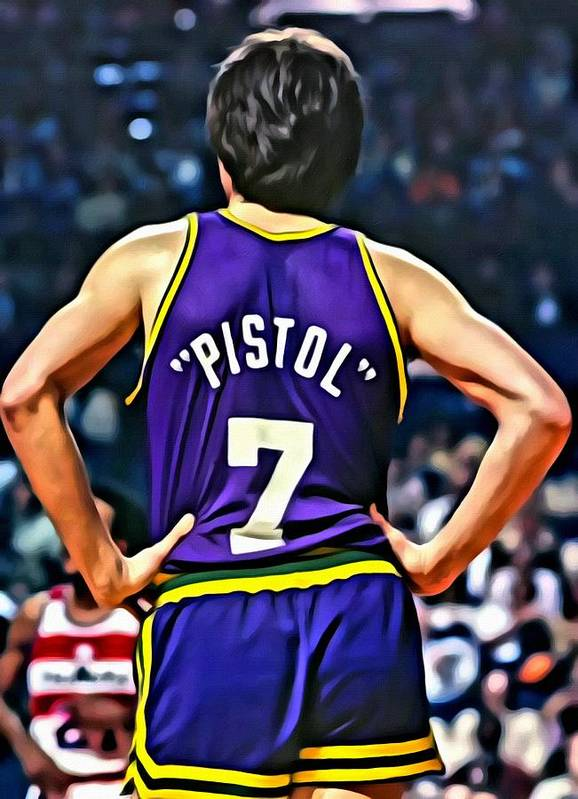 Pete Maravich Poster featuring the painting Pete Maravich by Florian Rodarte