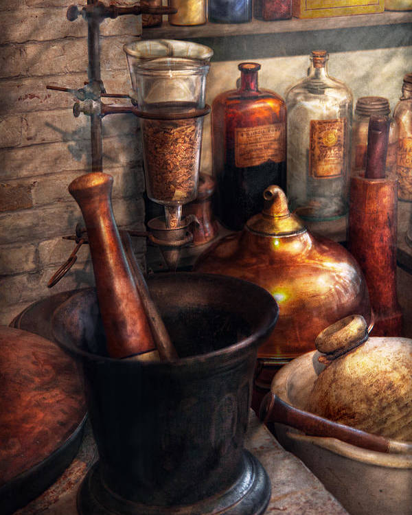 Doctor Poster featuring the photograph Pharmacy - Pestle - Pharmacology by Mike Savad