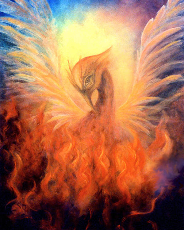 Phoenix Poster featuring the painting Phoenix Rising by Marina Petro